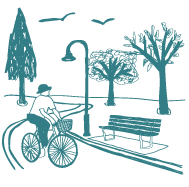 illustration of person riding bike down a street with a bench and trees