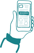 resilient neighbourhoods resources illustration of hand holiding smartphone