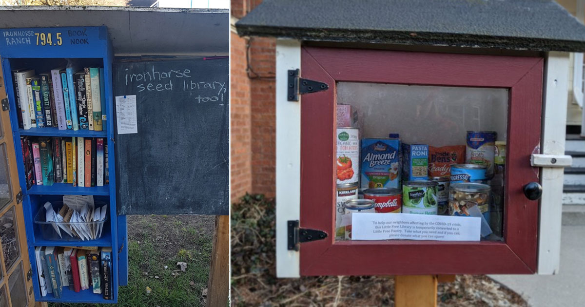 Free pantry and little library.